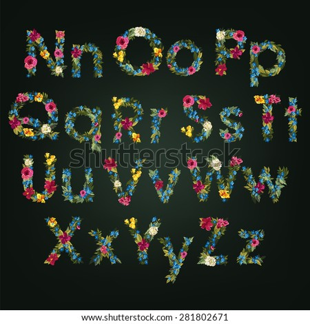 Flower letters. Vector alphabet. Colorful font. Lowercase and Uppercase. - stock vector