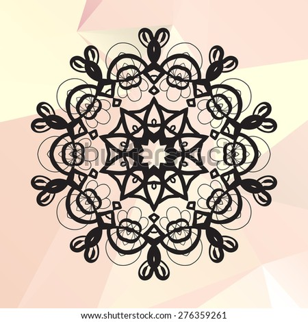 Flower like mandala on triangles background - stock vector