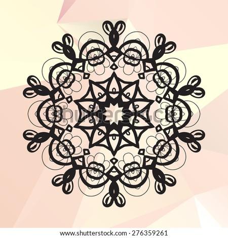 Flower like mandala on triangles background - stock vector
