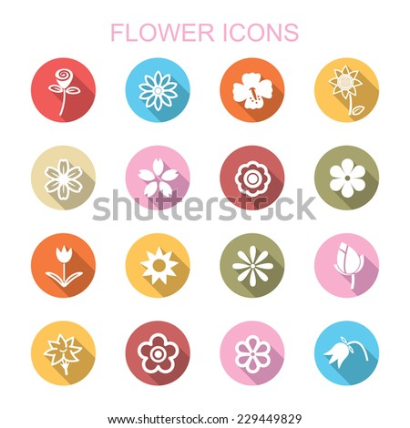 flower long shadow icons, flat vector symbols - stock vector