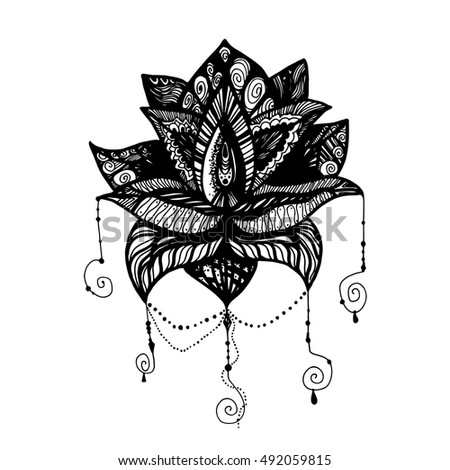 vector black white tattoo lotus illustration stock vector 382449616 shutterstock. Black Bedroom Furniture Sets. Home Design Ideas