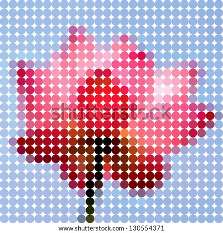 Flower lotus. Vector circle color ton dots. - stock vector