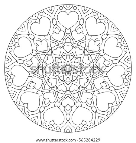 flower mandala with hearts coloring page for valentines - Hearts Coloring Page