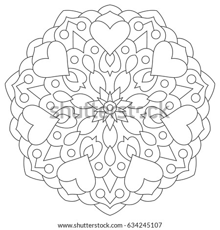 Flower Mandala With Hearts Coloring Page For Valentines Day
