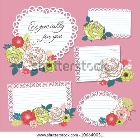 flower memo - stock vector