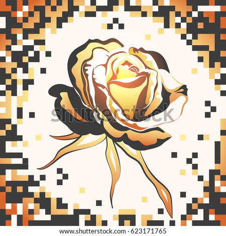 Flower of golden rose closeup on a pixel background.Card or banner with bud of rose.Vector illustration.