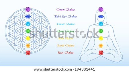 Flower of life and meditating woman, both with symbols of the seven main chakras plus description. Vector illustration on blue gradient background. - stock vector
