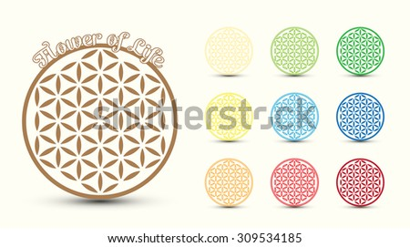 Flower of Life symbol, set of. Colorful variations - stock vector