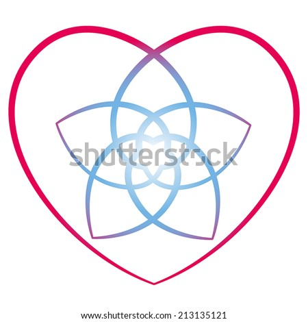 Flower of venus with surrounding heart, symbol of love and harmony. Isolated vector illustration on white background. - stock vector