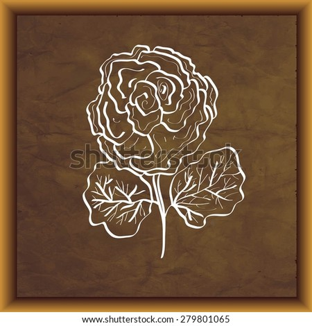 Flower on aged paper texture with frame, vector.  - stock vector