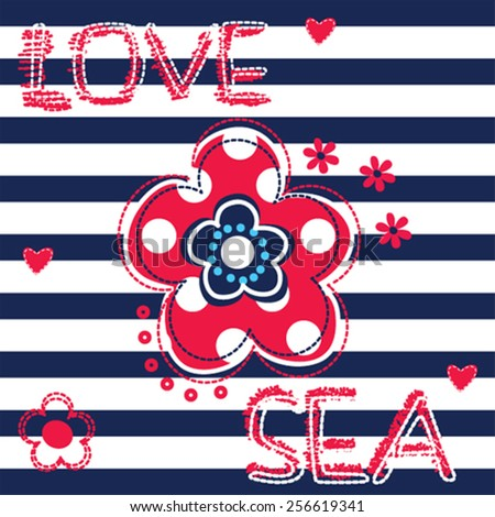 flower on striped background vector illustration - stock vector