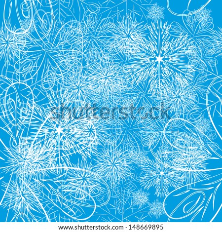 flower or snowflakes vector background. Seamless texture for your design - stock vector