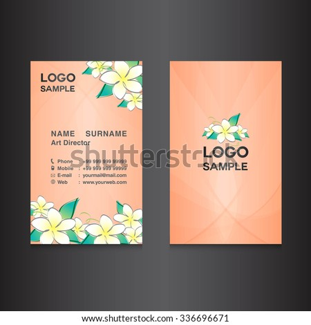 flower orange Business card design,card design, vector illustration,orange background, flower vector,name card