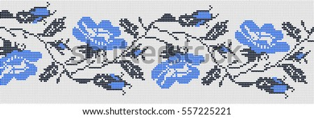 Flower ornament in the Ukrainian style on a white background. Color national embroidery.