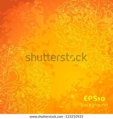 Flower ornamental gold pattern background. Vector illustrations for your retro fashion design. Easy to edit. Old shabby orange colored wall.