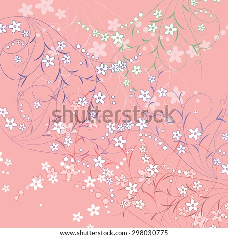 Flower pattern background composition on pink background. Vector