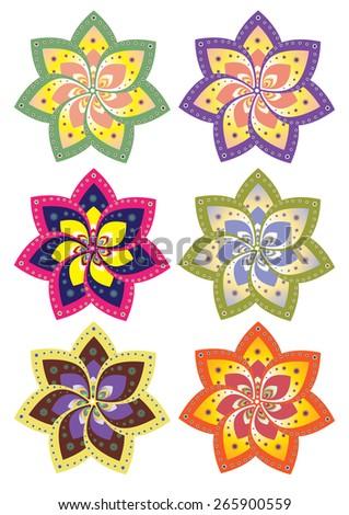 Flower pattern set (vector) - stock vector