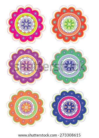 Flower pattern set (vector) - stock vector