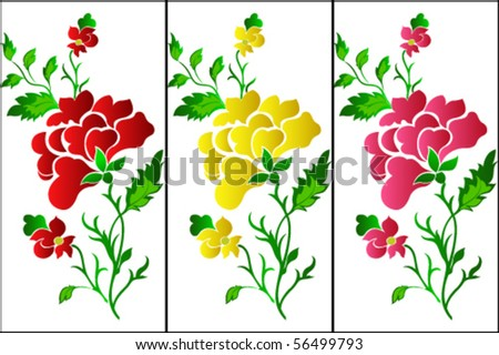 Flower pattern vertical, rose, tattoo - stock vector