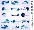 Flower patterns isolated on background. Vector illustration. Elements for design. Flower logo