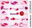 Flower patterns isolated on background. Vector illustration. Elements for design. Flower logo - stock vector