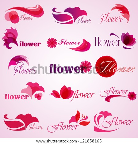 Flower patterns isolated on background. Vector illustration. Elements for design. Flower logo - stock vector