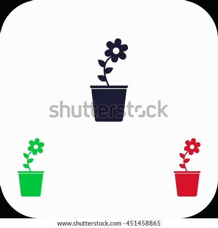 Flower pot Illustration set. Blue, green, red icon. - stock vector
