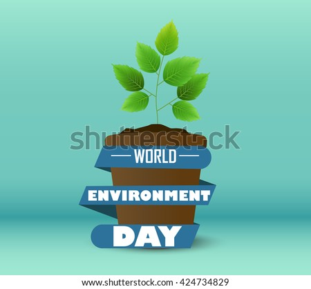 Flower Pot with blue ribbon a shape circular for world environment day.Vector - stock vector