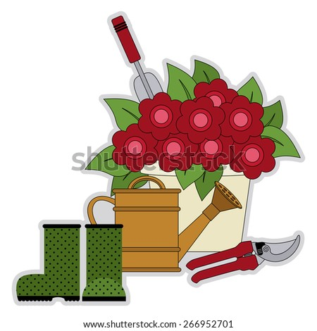 flower pot with colorful flowers, garden shears, watering can and green rubber boots  - stock vector
