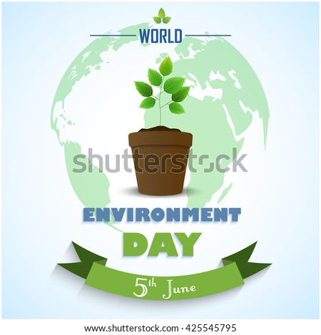 Flower Pot with green ribbon and earth for world environment day.Vector - stock vector