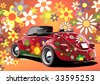 flower power convertible, illustration on colorful background - stock vector