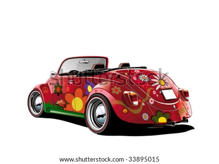 flower power convertible, vector illustration - stock vector