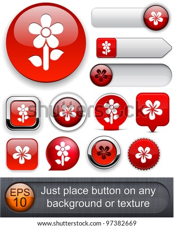 Flower red web buttons for website or app. Vector eps10. - stock vector