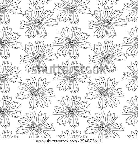 Flower seamless pattern. Vector cornflowers. EPS8
