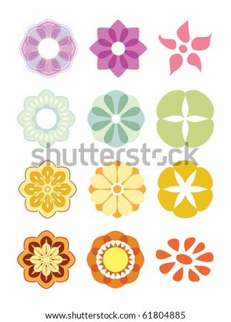 Flower set. Colorful elements for design. Vector illustration. - stock vector