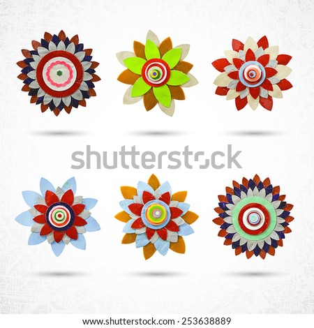 Flower set for design, made of paper with Die cutting, craft and hobby activity - stock vector