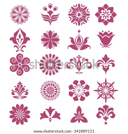Flower set. Red ornament on a white background. Vector design elements - stock vector