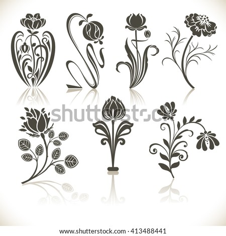 Flower shapes vector set isolated on white background. - stock vector