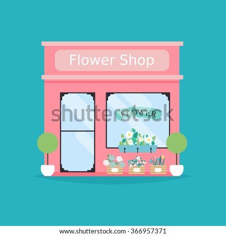 Flower shop facade. Vector illustration of flower shop building. Ideal for flower shop business web publications and graphic design. Flat style vector illustration. - stock vector