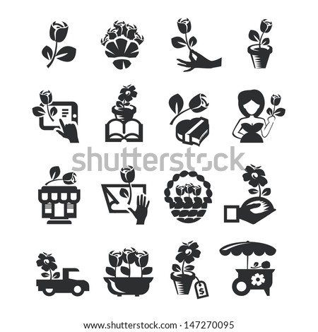 flower shop icons - stock vector