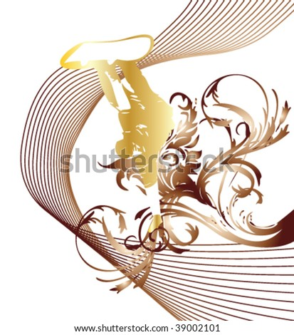 flower snowboard vector background - stock vector