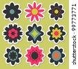 Flower stickers for scrapbook - stock vector