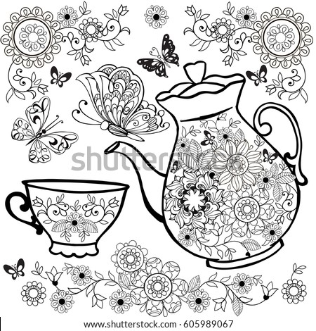 Flower Tea Teapot Coloring Pages Flowers Stock Vector