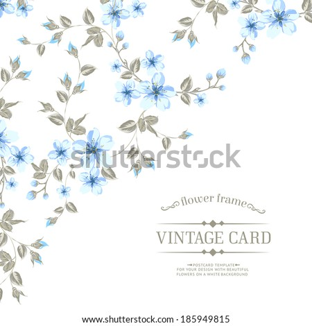 Flower texture of sakura flowers on vintage card. Vector illustration. - stock vector
