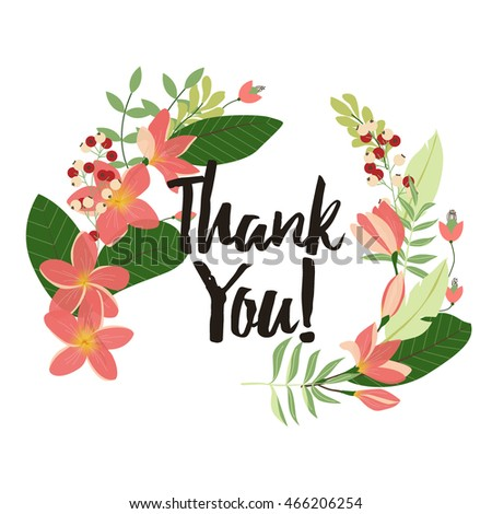 flower thank you card template plumeria stock vector 466206254