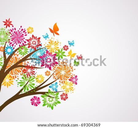 flower tree, background - stock vector