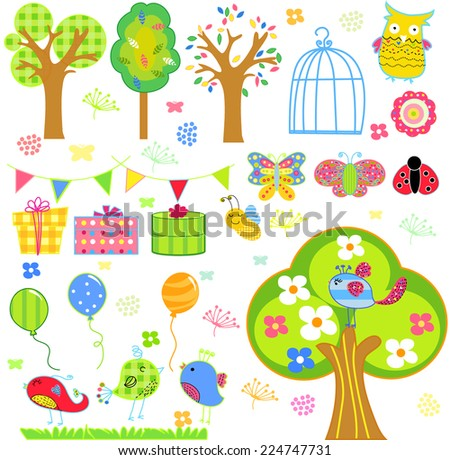 flower tree butterfly and birds - stock vector