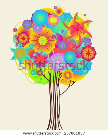 Flower Tree In Bloom. Vector Illustration - stock vector