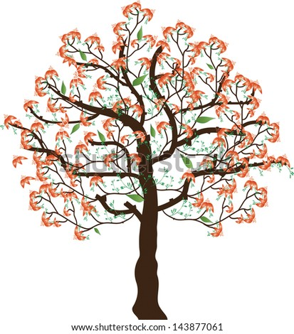 Flower  tree. Vector illustration