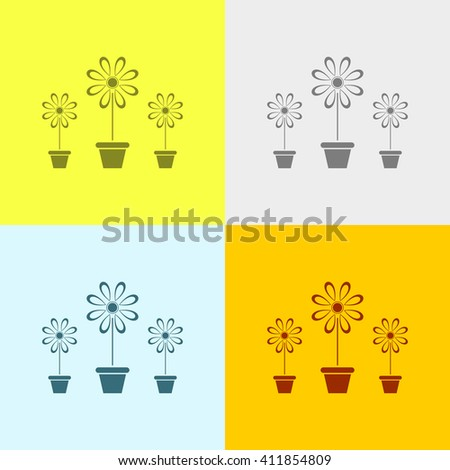 Flower Vase Icon on Four Different Backgrounds. Eps-10.